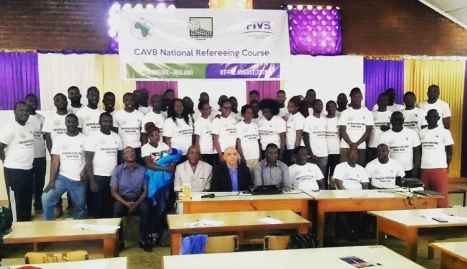 The participants pose with the instructor and officials from VAM and Malawi National Sports Council