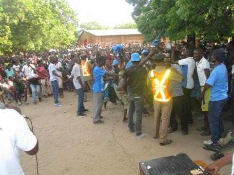 The party supporters battling with the police