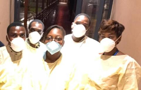 Health workers wearing masks to prevent them from Coronavirus